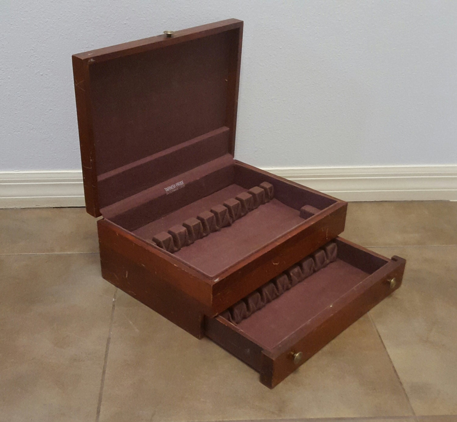 Vintage dark mahogany solid wood 2 drawer silverware for Box for flatware storage