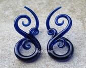 """Cobalt Blue Bonita Ear Spirals  6g 4g 2g 0g 00g 7/16"""" 1/2"""" 9/16"""" 5/8""""  4 mm 5 mm 6 mm 8 mm 10 mm - 16 mm"""