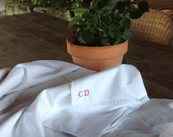 Beautifully simple handwoven vintage french linen sheet initialed C D wedding trousseau dowry