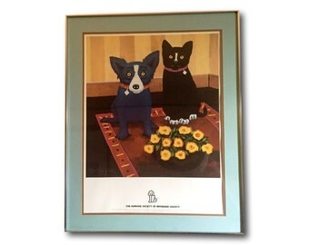 Vintage Special Edition George Rodrigue Blue Dog & Black Cat Friendship Framed Print