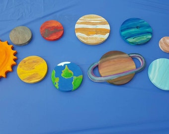 Solar System, wooden solar system, solar system wall decor, planets, wooden planets