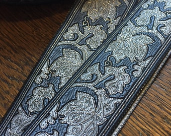 Swiss Gray Paisley Brocade Ribbon, 1 3/8 inches wide, iridescent accents