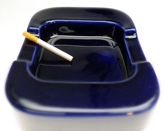 Ashtray XXL ceramic dark blue