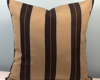 Black and tan throw pillow cover. French stripe pillow. 18 inch decorator toss pillow. Awning stripe. Contemporary accent pillow.