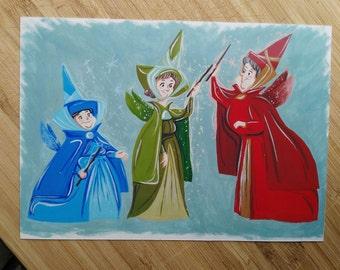 Sleeping Beauty Fairy Godmothers print