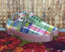 Vintage, VTG, Dead Stock, Women's Shoes, 90's ESPRIT Plaid Madras Shoes Sz. 8 1/2 8.5 Women Sneakers Kicks