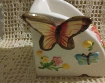 Vintage Ceramic Pencil Holder With Butterflies Motif