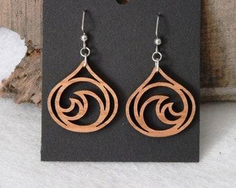 Teardrop Waves Wooden Earrings