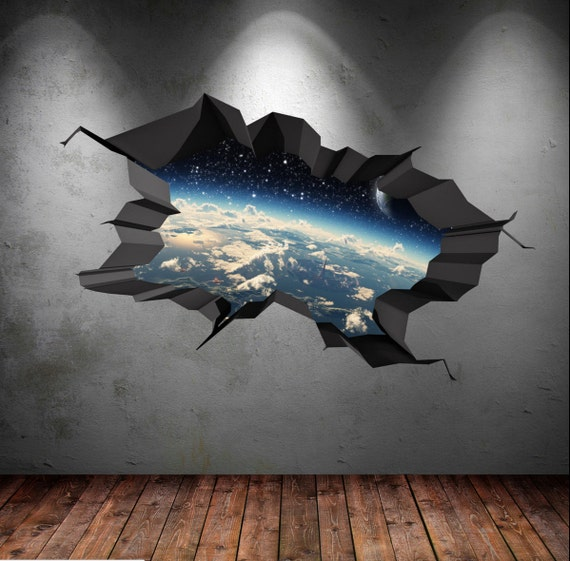 Full colour wall decals earth moon space planet galaxy cracked for Earth moon wall mural