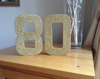 Gold Glitter 80, Paper Mâché Number, 80th Birthday Party Decor, Freestanding Number 80