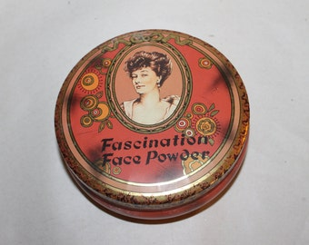Vintage Tin for Anything, Including Tea, Powder, Food Stuff, etc., Lid Comes Off, Made in England, Beautiful and Functional, Nice Shape