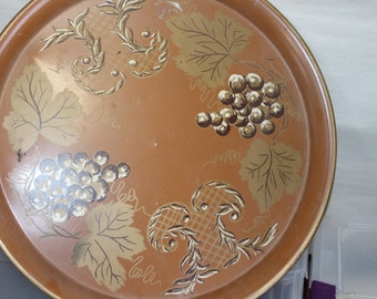 Vintage Decorative Tray, Serving, Wall Hanging, Grapes & Other Designs, Brown w Shades, Very Artistic, Centerpiece, Dining Room, Collectible