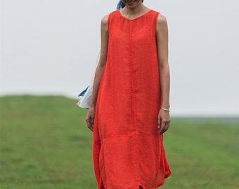 Orange irregular linen tank dress BonLife