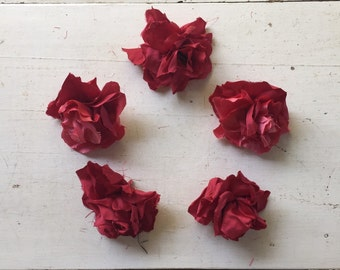 Posy of Handmade Vintage Style Silk Flowers
