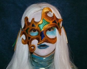 Abstract Gold Leather Mask