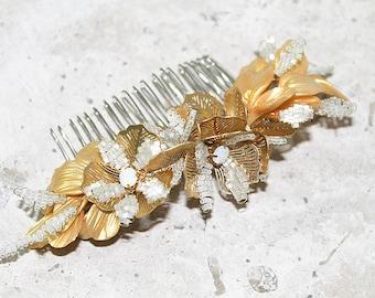 Bridal Comb, flower headpiece, gold headpiece, bridal comb,wedding headpiece, floral gold comb