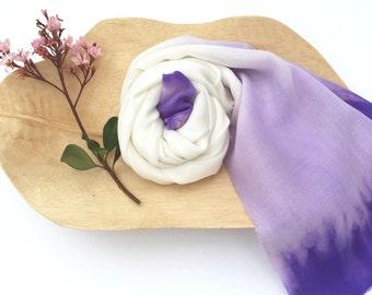 Lavender scarf, lilac scarf, off white shibori scarf, ombre scarf, wool scarf, hand dyed, handmade scarf, spring scarf, silk scarf