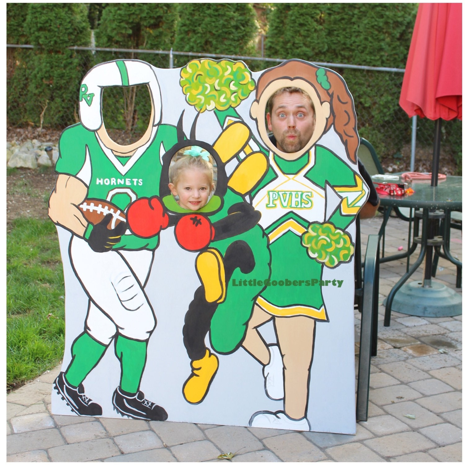 tailgate wooden photo booth prop football cheerleader and