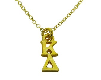 Vertical Kappa Delta Greek Sorority Lavalier Pendant Drop Charm Chain Necklace GOLD PLATED