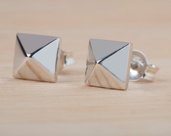 Silver Pyramid Studs, Gold Pyramid 925 Sterling Silver, Pyramid Studs, Solid Gold Pyramid