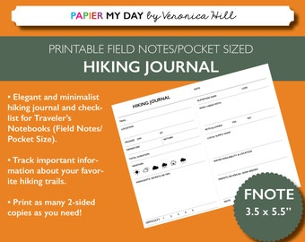Printable Hiking Journal - Sized for Field Notes and Pocket Size Travelers Notebooks