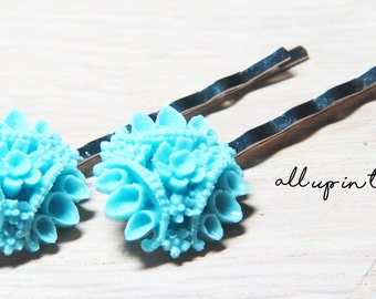 Blue Bobby Pins - Flower Bobby Pins - Blue Flower Bobby Pins