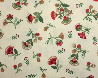Timeless Treasures SMALL JACOBEAN FLORAL Cream 100% Cotton Premium Fabric-Per 1/2 Yard Black