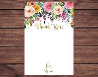 Floral Thank You Card, Floral Gold Thank you Card PDF, Printable Thank You Card, Navy Floral  Thank You Note, Note Card, PDF Printable