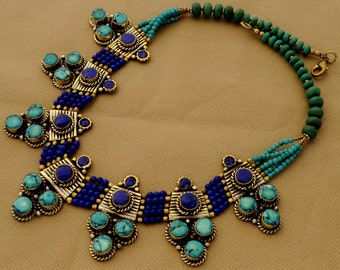 DIY Necklace Kit - Turquoise Lapis Beads Spacer Pendant with Brass Findings M21