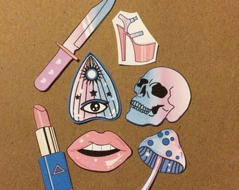 Girly Witch Pastel Goth Stickers Tumblr Style
