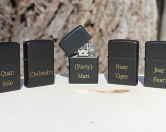 set of 5 Personalized Laser Engraved Black Matte Zippo Lighter- groomsmen gift- valentines gift