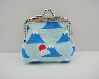 Japanese coin purse, Kiss lock pouch, Mt.Fuji, Blue