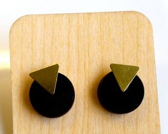 Geometric Wood and Brass stud earrings