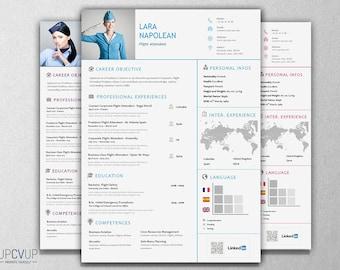 crew flight attendant modern resume cv template cover letter