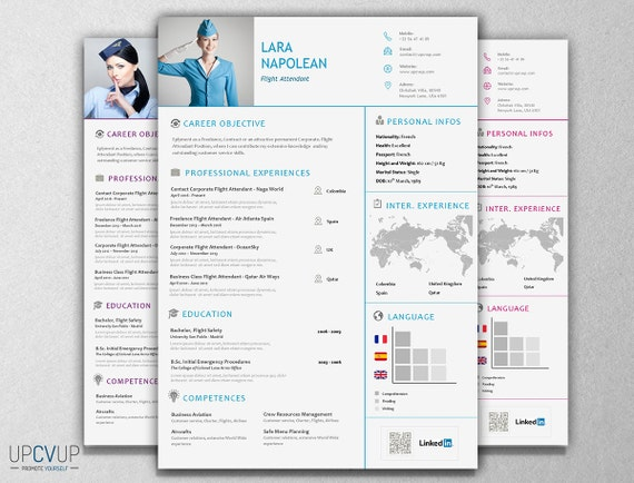 items similar to 3 cabin crew  u00a7 flight attendant modern resume cv template   cover letter design