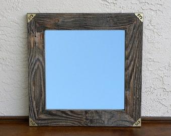 Reclaimed Wood Mirror with Gold Metal Corners. Rustic Home Decor. Eco Friendly. Framed Mirror. Modern Mirror. Bathroom Mirror. 20x20