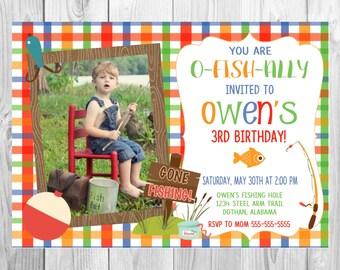 Fishing Invitation, Fish Invitation, Fishing Party, Pond Party, Fishing Birthday Invitation, Camping Invitation, Printed invitation