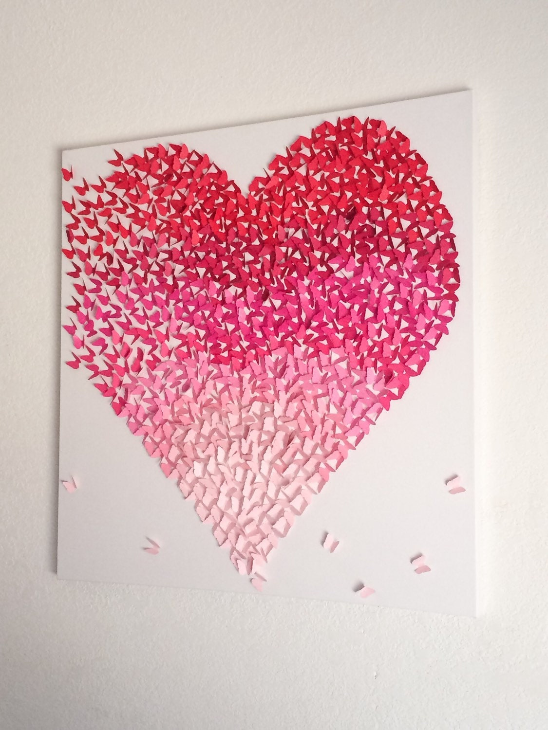 Butterfly Heart Red Pink Ombre Canvas Handmade Art By