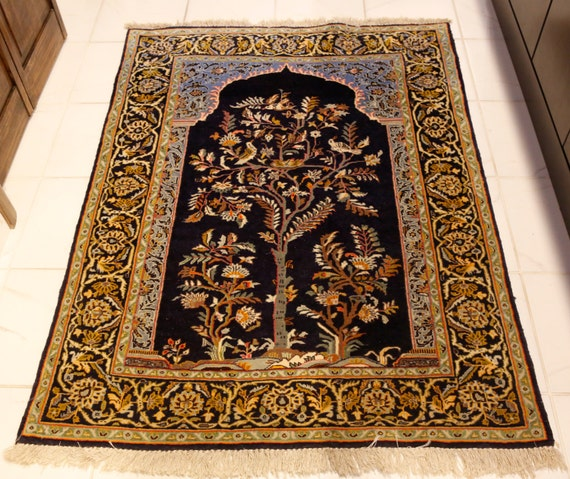 Semi Antique Persian Kashan Tree Of Life Rug Collectors Item C