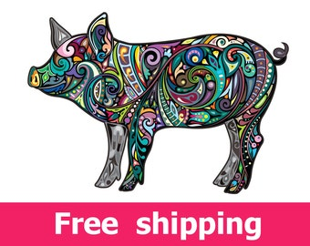 abstract pig wall sticker, colorful swine wall decal pig decor, boar wall sticker removable vinyl animal pigs wall art cartoon farm [FL089]