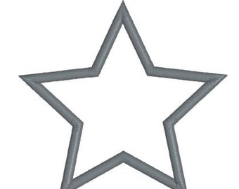 Embroidery Applique Star Design Pattern Outline (Two satin stitch widths)