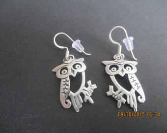 Owl Earrings...Sterling Silver..Nice detail...New