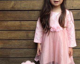 Girls Pink TuTu dress. Little Girls Long Sleeve TuTu Dress.