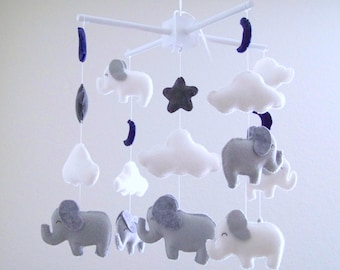 Gray and white elephant baby mobile, elephant mobile, baby mobile, navy moon mobile, gray nursery decor, Navy gray nursery decor,  baby