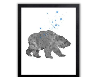 Woodland Animal Art, Bear Painting, Watercolor Bear Art For Boys Room, Limited Edition Art Print - WS27001