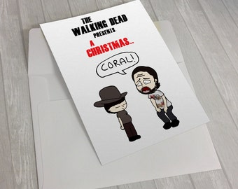 the walking dead, coral, christmas coral, rick grimes, carl grimes,  greeting card, christmas card, walking dead fan, zombie fan, horror fan