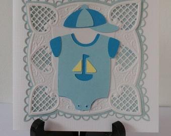 Handmade New Baby Card - Baby Shower Card - cricut card- Handmade Greeting Card
