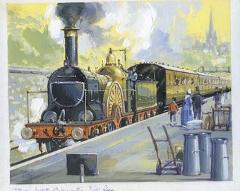 John Smith Iron Duke Steam Locomotive Train Engine Illustration Art Drawing Painting Gouache on Board RR