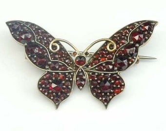 Vintage Sterling Silver Caliber Cut Garnet Butterfly Brooch with  14kt Gold Antenna