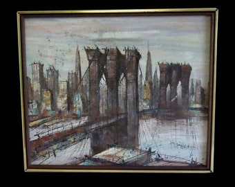 Modern Impressionist Brooklyn Bridge New York City Skyline Oil Painting